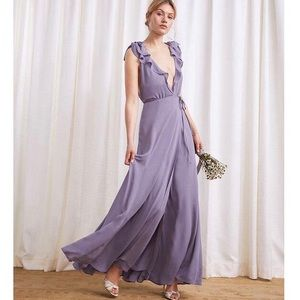 Reformation Peppermint in Orchid Ruffle Wrap Dress
